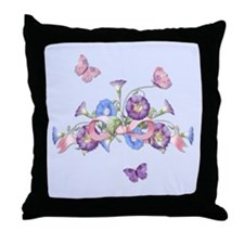 Morning Glory Garland Throw Pillow
