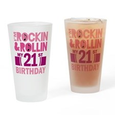 21st Birthday Rockin and Rollin Drinking Glass
