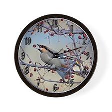 Bohemian Waxwing Wall Clock
