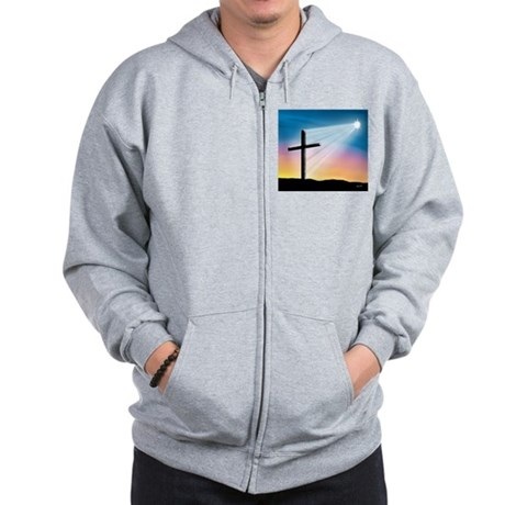 Sunset Cross Enlightened 10x10 Zip Hoodie