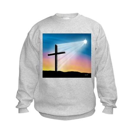 Sunset Cross Enlightened 10x10 Kids Sweatshirt
