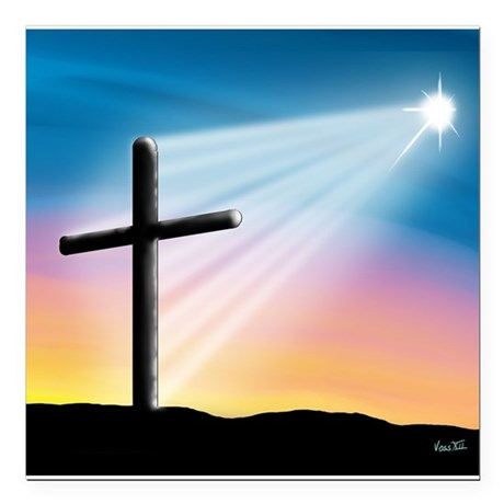Sunset Cross Enlightened 10x10 Square Car Magnet 3
