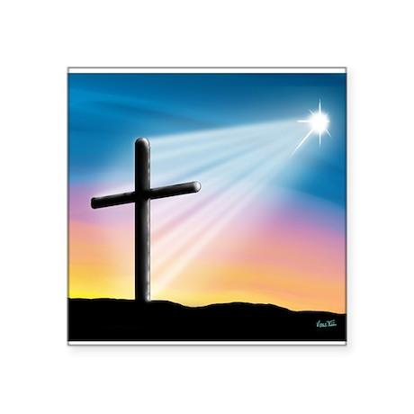 "Sunset Cross Enlightened 10x10 Square Sticker 3"" x"