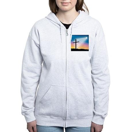 Sunset Cross Enlightened 10x10 Women's Zip Hoodie