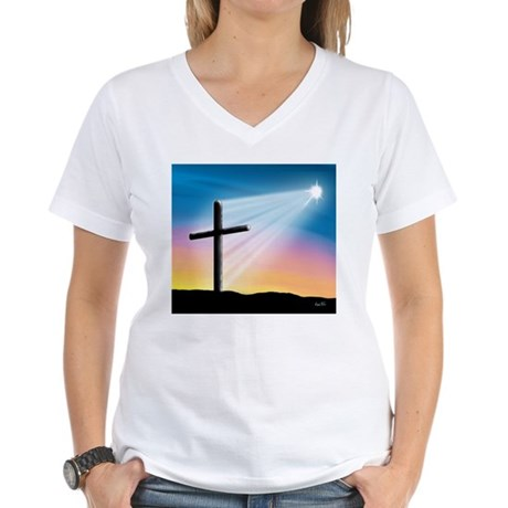 Sunset Cross Enlightened 10x10 Women's V-Neck T-Sh