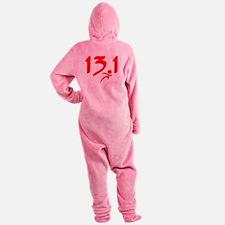 Red 13.1 half-marathon Footed Pajamas