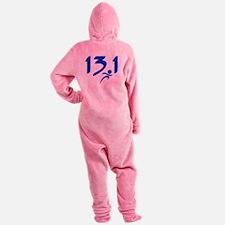Blue 13.1 half-marathon Footed Pajamas