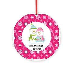 Snowman Love 1st Christmas Together Ornament (Roun