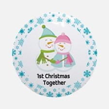 Cute 1st Christmas Together Couple Ornament (Round