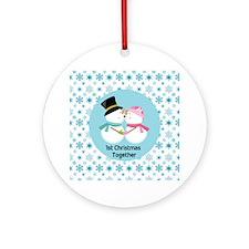 Cute Kissing Snowmen 1st Christmas Ornament (Round