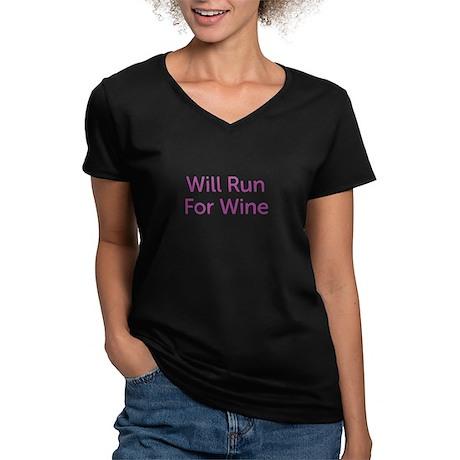 Will Run For Wine Women's V-Neck Dark T-Shirt