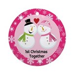 1st Christmas Snowmen Love Couple Ornament (Round)