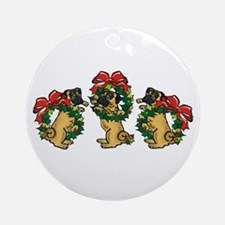 Pugs in Wreaths Ornament (Round)