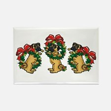 Pugs in Wreaths Rectangle Magnet
