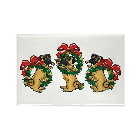 Pugs in Wreaths Rectangle Magnet (100 pack)