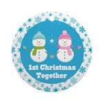 Snowmen in Love 1st Christmas Together Ornament (R
