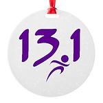 Purple 13.1 half-marathon Round Ornament