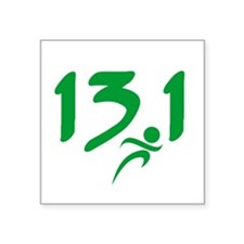 "Green 13.1 half-marathon Square Sticker 3"" x 3"""