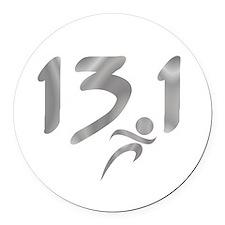Silver 13.1 half-marathon Round Car Magnet