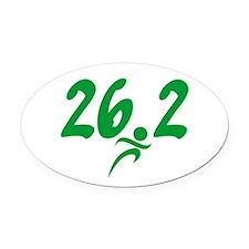 Green 26.2 marathon Oval Car Magnet