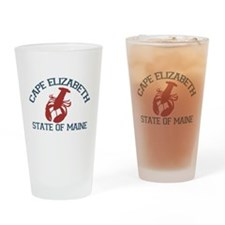 Cape Elizabeth ME - Lobster Design. Drinking Glass