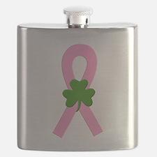 Pink shamrock ribbon Flask