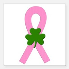 "Pink shamrock ribbon Square Car Magnet 3"" x 3"""