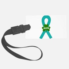 Teal Shamrock ribbon Luggage Tag