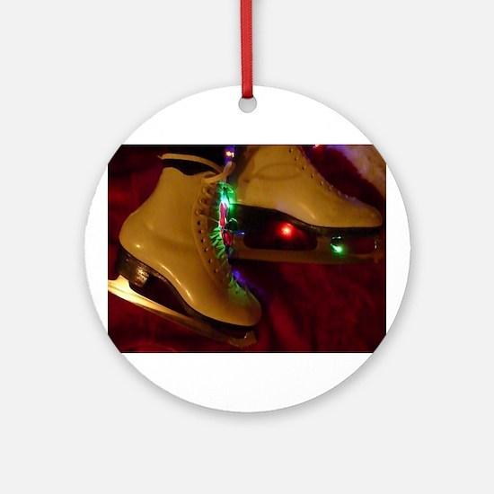 Ice Skater Christmas Ornament (Round)