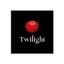 Twilight Lettering with Red Apple Square Sticker 3