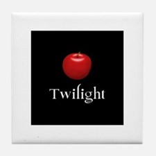 Twilight Lettering with Red Apple Tile Coaster