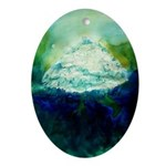 Snowy Mountain Ornament (Oval)