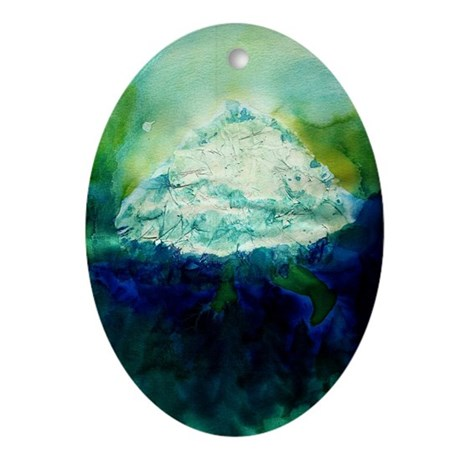 Snowy Mountain Ornament (Oval)