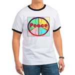 Abstract Peace Sign Ringer T
