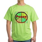 Abstract Peace Sign Green T-Shirt