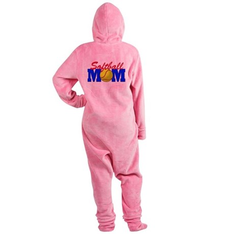 softball mom(white).png Footed Pajamas