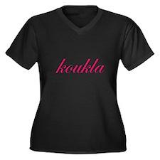 Koukla Women's Plus Size V-Neck Dark T-Shirt