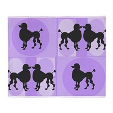Retro poodle bag purple.PNG Throw Blanket
