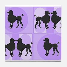 Retro poodle bag purple.PNG Tile Coaster