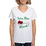 italian moms (white).png Women's V-Neck T-Shirt