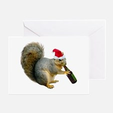 Santa Squirrel Beer Greeting Card