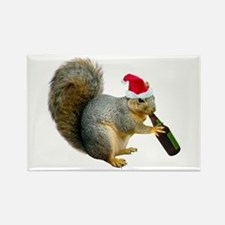 Santa Squirrel Beer Rectangle Magnet