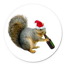 Santa Squirrel Beer Round Car Magnet