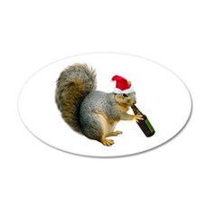 Santa Squirrel Beer Wall Decal