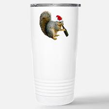 Santa Squirrel Beer Stainless Steel Travel Mug