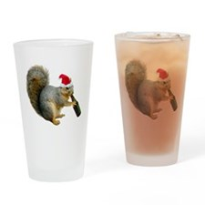 Santa Squirrel Beer Drinking Glass