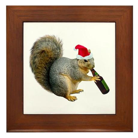 Santa Squirrel Beer Framed Tile