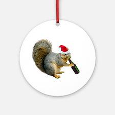 Santa Squirrel Beer Ornament (Round)