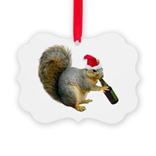 Santa Squirrel Beer Ornament