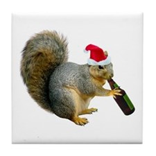 Santa Squirrel Beer Tile Coaster